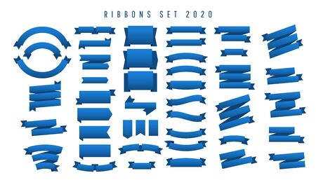 Beautiful minimalistic set of ribbons in classic blue 2020 isolated on white background. Can be use marketing, social media or network promotion, SMM banner, landing page, flyer. Illustration