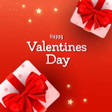 Valentines day background with beautiful surprise gift boxes with red ribbon bows in pink wrapping paper on red background with copyspace Ilustrace