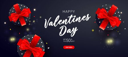 Valentines day vector sale banner with surprise gift boxes and ribbon bow on dark background