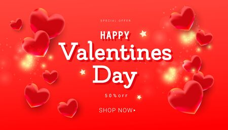 Valentines day greeting card with beautiful red volumetric balloons and congratulation text on red background with copy space