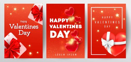 Happy valentines day greeting card set with 3d hearts,realistic gift boxes and sparkling golden confetti on dark background. Can be use for invitation, posters, brochure, discount voucher.