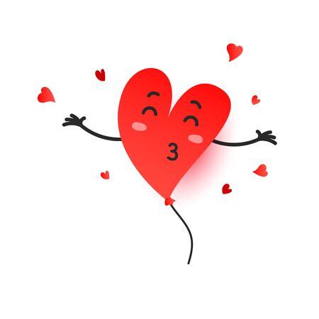 Cute vector illustration with heart shape balloon levitate in the air isolated on white background
