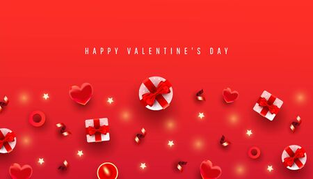 Valentines day horizontal background with border made of gift boxes, love shape and decor pattern on red background Illustration