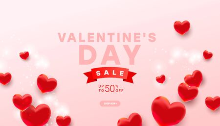 Valentines sale vector banner template with realistic decoration 3d red heart balloon elements on light pink background