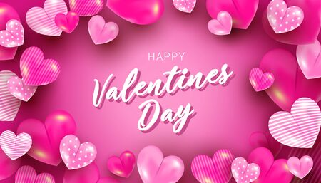 Valentines greeting card with pink 3d heart balloon elements in the air on a pink backgroun. Vector illustration for website, coupons, promotional material. 向量圖像