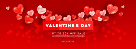 Valentines sale vector banner template composition with realistic decoration 3d red heart elements, ribbon on light pink background