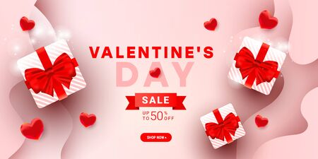 Valentines sale vector banner template with surprise gift boxes, pink bow, 3d heart balloon elements decor on gradient background
