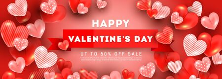 Happy valentines day sale vector greeting banner template with realistic decoration 3d red heart balloon elements on light red background