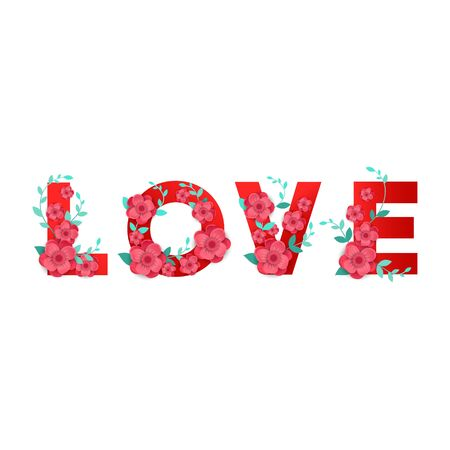 Inscription love with 3D flowers decor isolated on white background Vector illustration for website, coupons, promotional material. 向量圖像