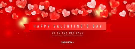 Valentine sale romantic vector background. Festival poster with rubber hearts balloons, red ribbon and text. 向量圖像