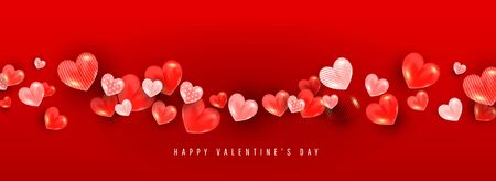 Valentines day background with 3D volumetric balloon hearts of different sizes and patterns on a red background with place for text. Can be used for poster, banner, greeting card, discount invitations