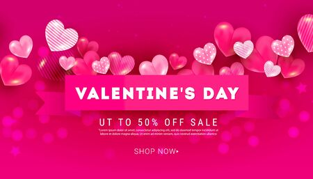 Valentines Day sale banner with 3D volumetric balloon hearts of different sizes and silk ribbon on a bright pink background with place for text. Can be used for poster, banner, greeting card, discount invitations. 向量圖像