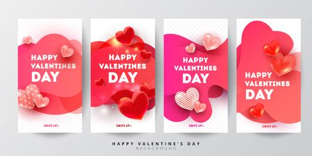 Trendy Valentines day editable social stories template set of liquid gradient red love 3d heart decor and greeting text. Vector illustration for social networks, blogging, banner or poster or voucher. Vertical layout, flat style