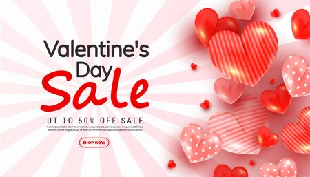 Valentines day discount banner with 3d love heart shapes in different sizes and sale text on a striped pink-white background 向量圖像