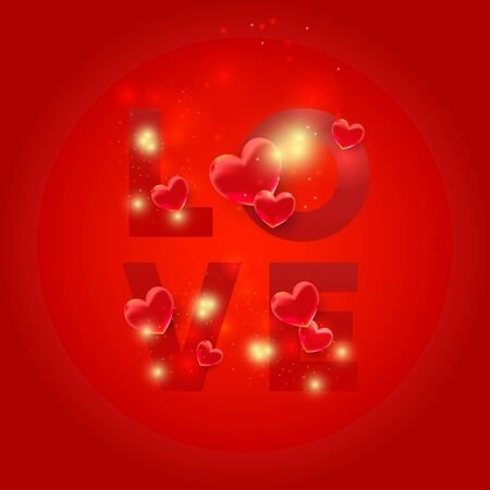 Love letters with 3d hearts. Love shapes with light glitter on a red background. Vector holiday illustration of flying bunch of red balloon hearts for Valentines Day Illusztráció