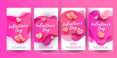 Creative greeting cards set of 3d liquid fluid shapes with hearts, discount text for Valentines Day, birthday, story, banner or poster.