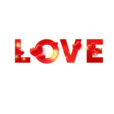 Love you color red text with 3d heart decor and glitter conffety on white background Illusztráció