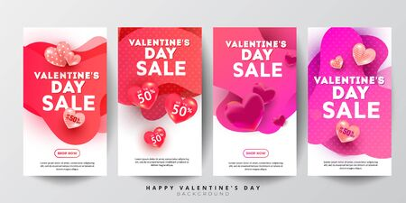 Valentines day sale story collection concept set with liquid gradient color shape and heart decor on a white background. Copyspace, minimal style