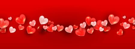 Realistic valentines day background with soft red 3d heart decor on a red background. Horizontal banner for article, sale discount, poster, invitation 向量圖像
