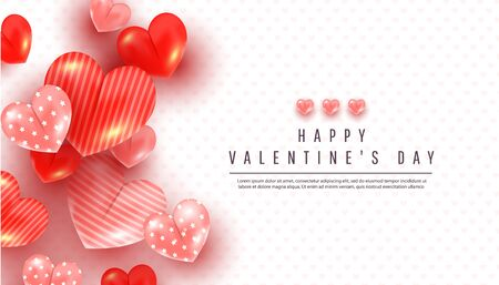 Realistic valentines day background with soft pink and red 3d heart decor on white background with copy-space