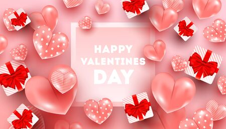 Minimal light composition with heart shaped balloons, surprise gift boxes, frame with copyspace. Can be used for web banners, posters, discount, voucher.