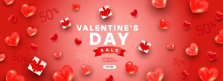 Valentines sale banner template with gift boxes with red village bow, 3d heart shape on minimal red background. Beautiful minimal greeting card for banner, poster, invitation or discount background.