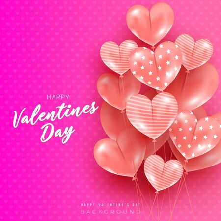 Happy valentines day holiday card with 3d heart shaped balloons with different patterns on a pink silk background with copyspace. Beautiful minimal greeting card for banner, poster, invitation or discount background. Ilustrace