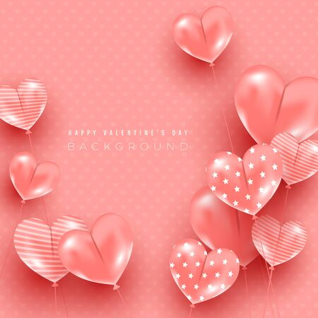 Minimal light composition with heart shaped balloons flying in the air on a silk pink background. Beautiful minimal greeting card for banner, poster, invitation or discount background. 向量圖像