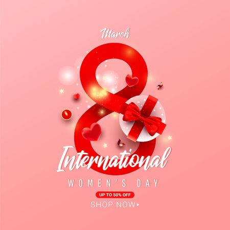 International Womens Day Postcard with number 8 with surprise gift box, heart shaped decor, candle and serpentine on a red background with greeting text 向量圖像