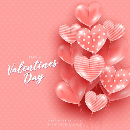 Valentines day card with heart shaped balloons on pink background. Greeting minimal postcard. Can use for web banner, poster, discount.