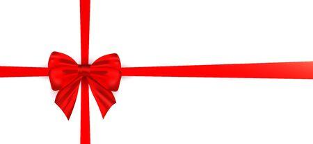 Czerwona jedwabna kokarda realistyczna z wstążką do dekoracji szablonu wektor pakowanie prezentów na białym tle. Dekoracja świąteczna, urodzinowa, dzień matki lub dzień ojca! Ilustracje wektorowe