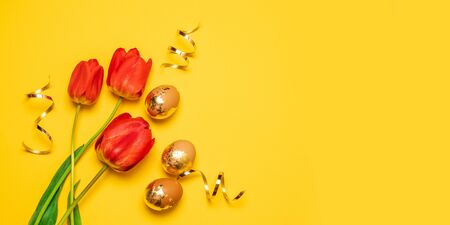 Holiday composition of two red tulips and gold eggs on a yellow monophonic background 写真素材