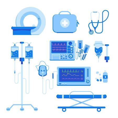 Ensemble d'équipement médical professionnel d'IRM, un défibrillateur, un masque à oxygène et un équipement, une boîte médicale avec des médicaments, un compte-gouttes de transfusion sanguine, une civière isolée sur fond blanc. Illustration vectorielle.
