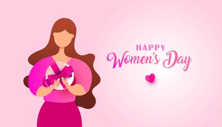 Women day banner desig nof young woman surprise box with a gift. Can be used for web banner, poster, postcard, voucher or sale. Vector illustration. Фото со стока - 140166290