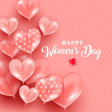 Creative Women Day greeting card with heart balloons and greeting text on a white background. Can be used for web banner, poster, postcard, voucher or sale. Vector illustration. Фото со стока - 139827420