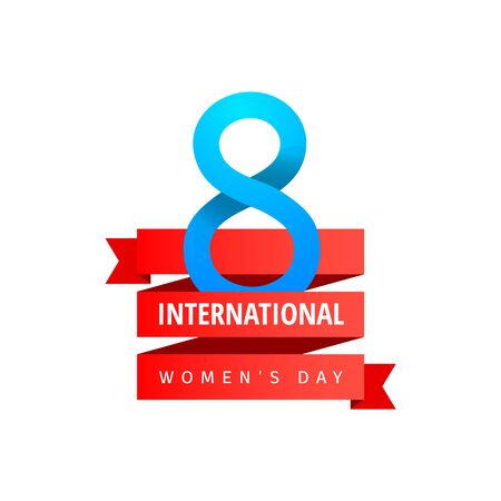 International Womens Day greeting card with blue eight sign, red ribbon on white background. Vector illustration. Фото со стока - 140166291
