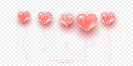 Pink heart shape balloons isolated on white background, Decor for holiday banner, poster or voucher greeting card. Фото со стока - 139828960