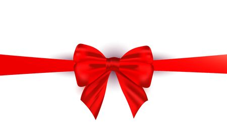 Realistic beautiful red silk bow ribbon isolated on white background. Can be used to decorate web banner, promo, poster, voucher or greeting card. Фото со стока - 140166309