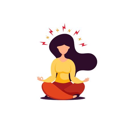 Young brunette woman sitting in lotus position and doing yoga, flat style. Stress concept vector illustration.