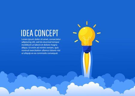 Kreative Idee. Helle Leuchtbirne in Form einer Rakete fliegt mit Text hoch. Startup, Brainstorming, Erstellen eines neuen Konzepts, Flat-Lay-Stil, Vektorillustration
