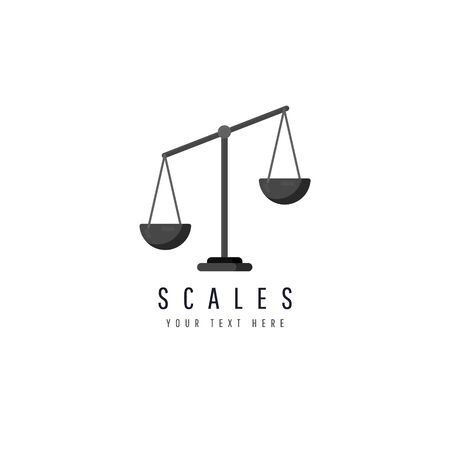 Scales icon isolated on white background. Law balance symbol, vector illustration.