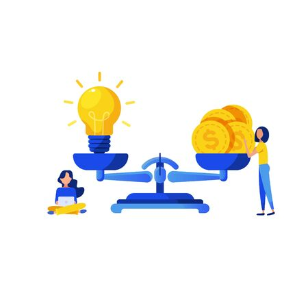 Light bulb idea and money on scales and little people isolated on white background. Value of idea. Vector illustration