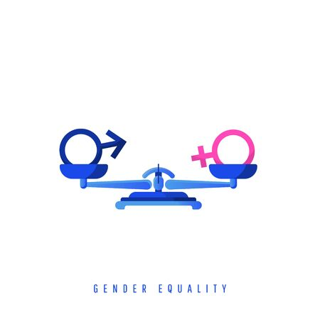 Gender equality concept. Gender balancing symbols on metal mechanical scales isolated on white background. Creative composition of equal pay, social status. Vector illustration in a flat style.
