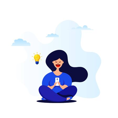 Cartoon girl uses a smartphone while sitting in a lotus position. Idea Generation Concept. Vector flat design