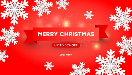 Merry Christmas and Happy New Year sale background design with paper cut white snowflakes and red ribbons on red background for flyers, poster, web banner