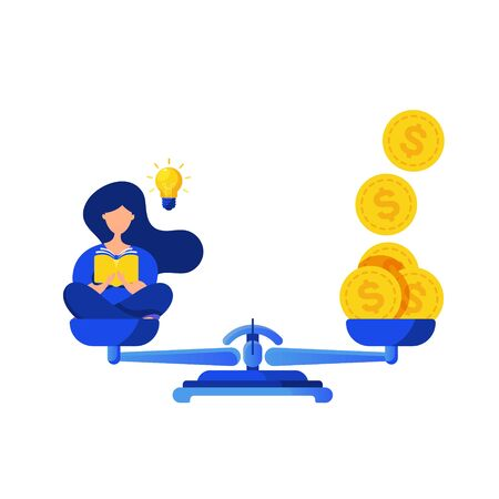 Cost ideas, collaboration concept. Little woman man generates an idea using laptop and gold dollar coins on scales isolated on a white background. Can use for web banner, infographics, hero images.