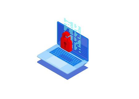 Cyberattack and virus protection concept. Isometrics PC device and red locked padlock on blue background. Hacker hack Can use for web banner, infographics, hero images.