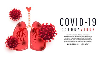 Human lungs infected with coronavirus bacterium cells isolated on white background with copispea. Vector illustration for article, magazine, banner, poster, news or infographic. 2019-nCoV Novel Coronavirus Bacteria