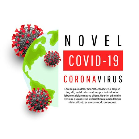 Global world map with virus bacteria cell infecting the planet with text on a white background.Novel Covid 19 coronavirus concept. Иллюстрация