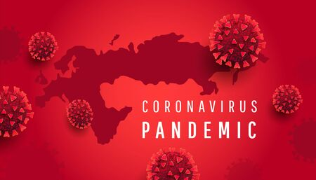 Coronavirus infections covid-19 concept. Global Europe map with 3d red virus cells on a red background. Pandemic background